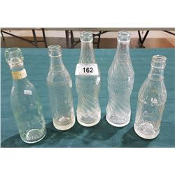 FIVE ANTIQUE SODA BOTTLES
