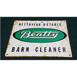 VINTAGE BEATTY BARN CLEANER TIN SIGN