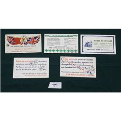 FIVE VINTAGE ROYAL BANK & DOMINION FIRE INSURANCE CO. INK BLOTTERS