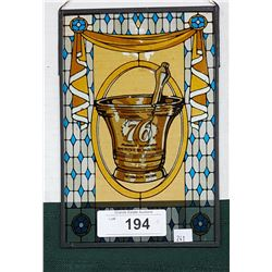 VINTAGE PHARMACY STAINED GLASS WINDOW ADVERTISEMENT