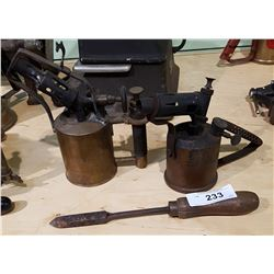 EARLY 1900'S OPTIMUS NO. 406 BLOW TORCH & TURNER DOUBLE JET BLOW TORCH W/BRAZING IRON