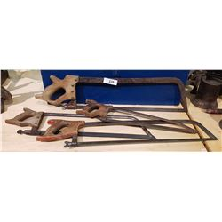 FOUR ANTIQUE HAND HACK SAWS