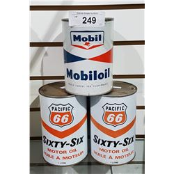THREE VINTAGE MOBIL OIL & PACIFIC 66 OIL QUARTS
