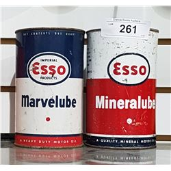 TWO VINTAGE ESSO MARVELUBE & MINERAL LUBE OIL QUARTS