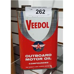 VINTAGE VEEDOL (FLYING A) OUTBOARD MOTOR OIL QUART