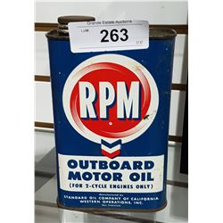 VINTAGE RPM OUTBOARD MOTOR OIL SQUARE QUART