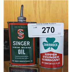 VINTAGE LEAD TOP SINGER SEWING MACHINE HANDY OILER & SHAMROCK CYLINDER LUBRICANT 4OZ CAN