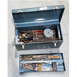 VINTAGE BEACH METAL TOOL BOX W/ANTIQUE & VINTAGE TOOLS