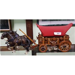 VINTAGE CHUCK WAGON LAMP W/CLYDESDALE HORSES