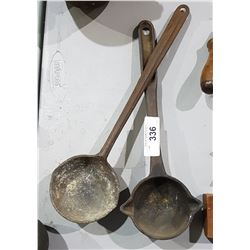 TWO ANTIQUE FORGING LADLES