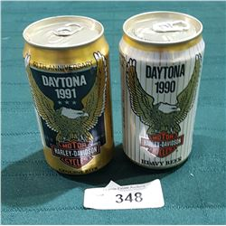 TWO COLLECTIBLE HARLEY DAVIDSON BEER CANS