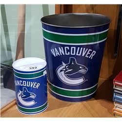 NEW COLLECTIBLE CANUCKS GARBAGE CAN & CANUCKS COIN BANK
