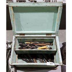 ANTIQUE WOOD TOOL BOX W/CONTENTS