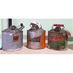 THREE VINTAGE ONE GALLON GALVANIZED FUEL CANS