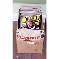 9 1970/80'S COLLECTIBLE PLAYBOY MAGAZINES AND APPROX 40 COLLECTIBLE HIGH TIMES MAGAZINES