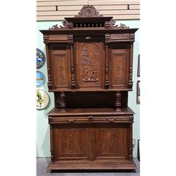 ANTIQUE HIGHLY CARVED BELGIAN OAK CABINET W/KEY