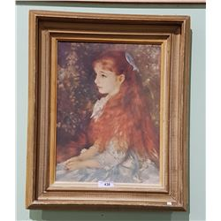 VINTAGE FRAMED OIL ON CANVAS, RENOIR REPLICA