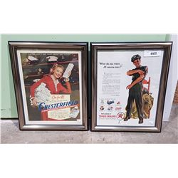 2 FRAMED ORIGINAL 1940'S ADVERTISMENTS
