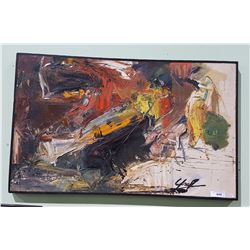 FRAMED ABSTRACT OIL ON CANVAS BY LES GRAFF TITLED  NO EXIT