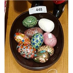 COLLECTION OF 9 VINTAGE HAND PAINTED WOOD AND STONE EGGS