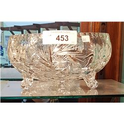 LARGE PINWHEEL CRYSTAL FOOTED BOWL