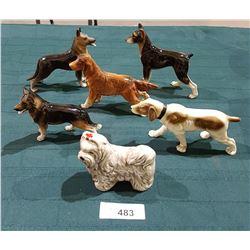 6 VINTAGE PORCELAIN DOG FIGURINES