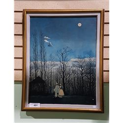 """VINTAGE H. ROUSSEAU PRINT ON BOARD TITLED """"NIGHT OF CARNAVAL"""""""