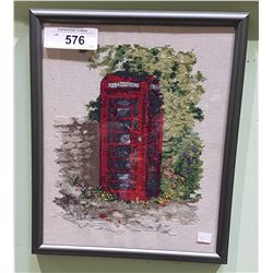 FRAMED NEEDLEPOINT TELEPHONE BOOTH