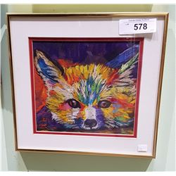 FRAMED PASTEL OF A FOX SIGNED