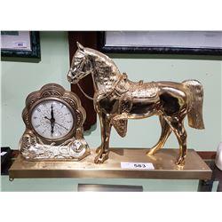 VINTAGE BRASS HORSE CLOCK