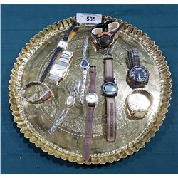 EMBOSSED BRASS TRAY W/ 10 WRISTWATCHES