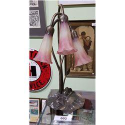 ART GLASS LAMP W/LILY PAD BASE
