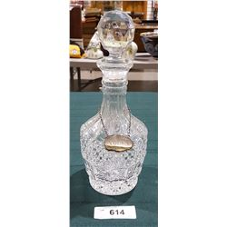 CRYSTAL LIQUOR DECANTER W/SILVER PLATE WHISKEY TAG