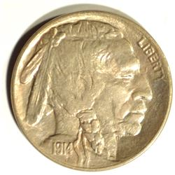 1914 BUFFALO NICKEL, GEM BU PRETTY COLORS