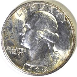 1938-S WASHINGTON QUARTER, CH BU