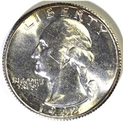 1942-S WASHINGTON QUARTER, GEM BU