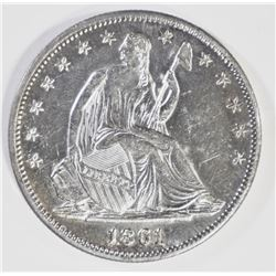 1861 SEATED HALF DOLLAR, AU/BU