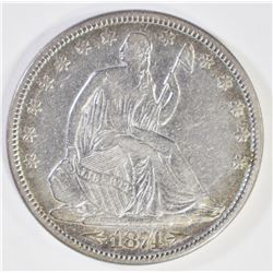 1874 WITH ARROWS SEATED HALF DOLLAR, XF+
