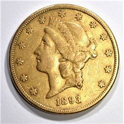 1893-S $20.00 GOLD LIBERTY, XF