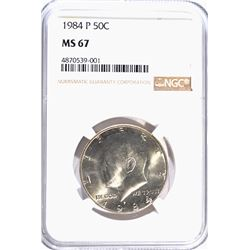 1984-P KENNEDY HALF DOLLAR, NGC MS-67