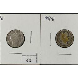 1896 & 1909-D BARBER DIMES
