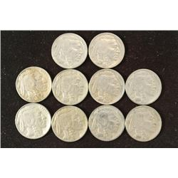 10 ASSORTED FULL DATE 1930'S BUFFALO NICKELS