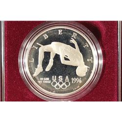"1996 US OLYMPIC ""HIGH JUMP"" PROOF SILVER DOLLAR"