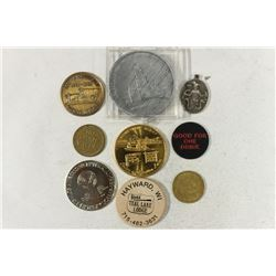 9 ASSORTED TOKENS ETC...