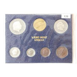 1980 NETHERLANDS 7 COIN UNC MINT SET WITH SILVER