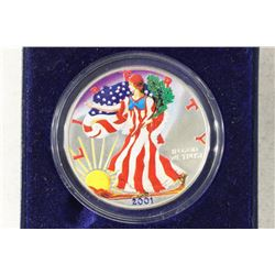 2001 COLORIZED AMERICAN SILVER EALGE IN CASE