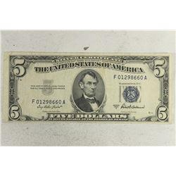 1953-A $5 BLUE SEAL SILVER CERTIFICATE