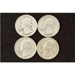 1944-S,53-D,61-D & 64-D WASHINGTON SILVER QUARTERS