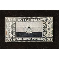 20 GRAM .999 FINE SILVER PROOF BAR EAST GERMANY