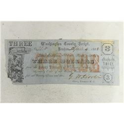 1862 WASHINGTON COUNTY SCRIPT $3 OBSOLETE BANK